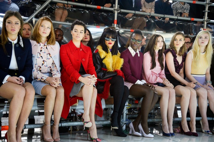 Lupita Nyong'o, Rihanna, Margot Robbie, Elizabeth Olsen in Pumps at Miu Miu Fashion Show